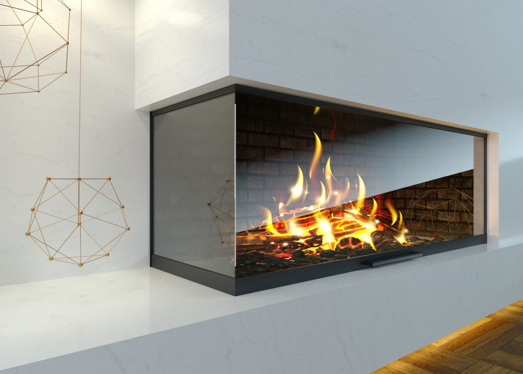 3d illustration. Modern glass corner fireplace in the interior in the style of minimalism or loft. Heating technology