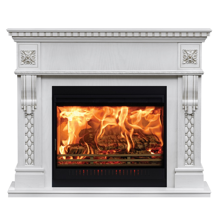Burning classic fireplace of white marble. Isolated on white. georgian era fireplace