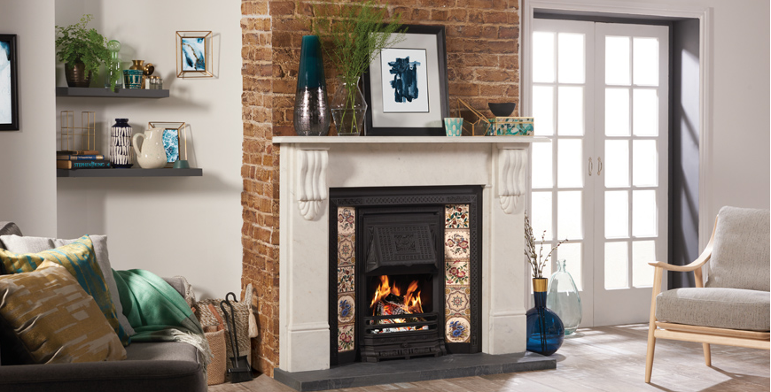 Tiled fireplace from gazco