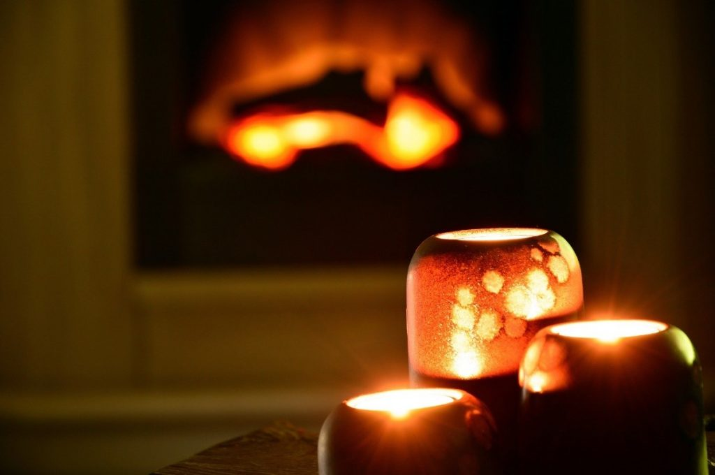 candles and fireplace match