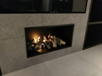 Real Flame Matte Black Hole In The Wall Fireplace